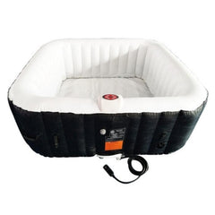 Aleko Square 4 Person Inflatable Hot Tub Spa - Black and White