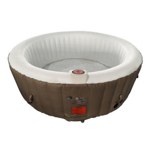 Aleko 210 Gallon 4 Person Round Inflatable Hot Tub Spa With Cover - Brown and White
