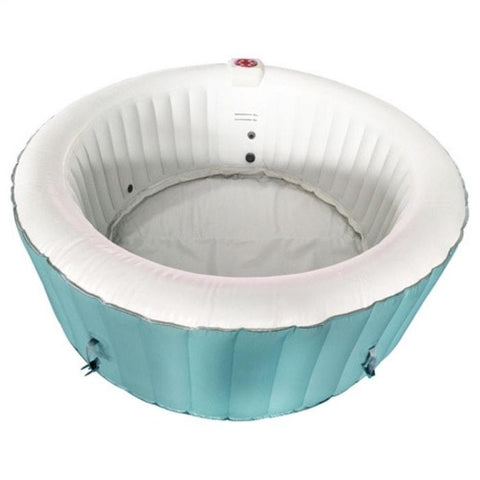 Aleko 210 Gallon 4 Person Round Inflatable Hot Tub Spa With Cover - Light Blue and White