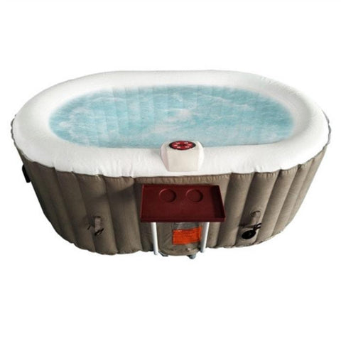 Aleko 145 Gallon 2 Person Oval Inflatable Hot Tub Spa With Drink Tray and Cover - Brown and White