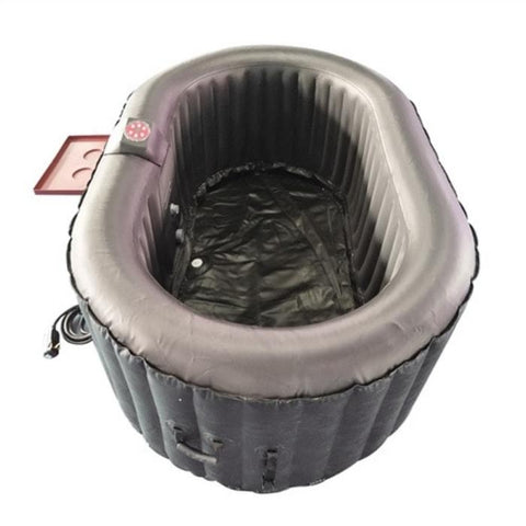 Aleko 145 Gallon 2 Person Inflatable Hot Tub with Cover and Drink Tray and Cover - Black