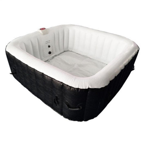 Aleko 250 Gallon 6 Person Square Inflatable Hot Tub Spa With Cover - Black and White
