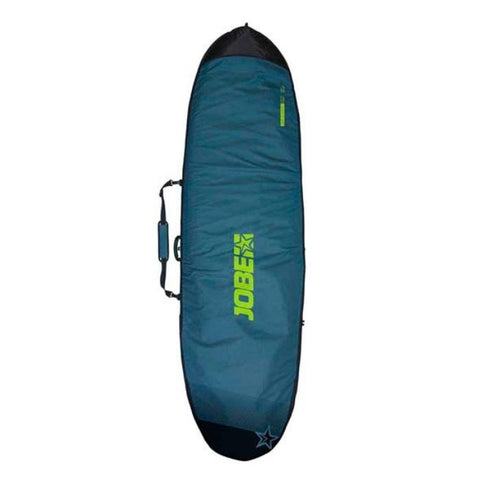 JOBE PADDLE BOARD BAG 9.4.  Dark teal green with light green Jobe Sup Carry Bag lettering and the ends of the bag are a dark green.