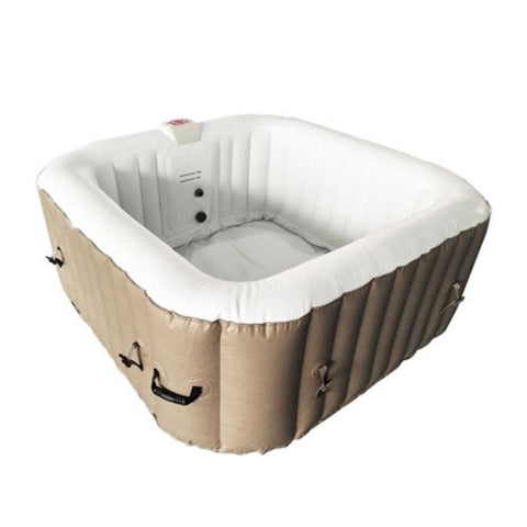 Aleko 160 Gallon 4 Person Square Inflatable Hot Tub Spa With Cover - Brown