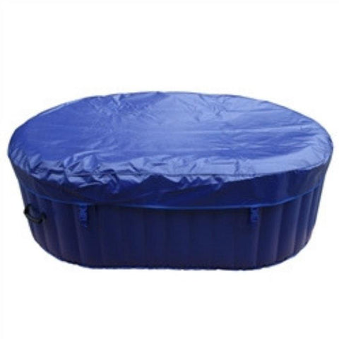 Aleko 145 Gallon 2 Person Inflatable Hot Tub with Cover and Drink Tray and Cover - Dark Blue