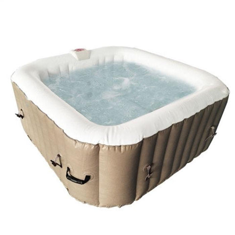 Aleko 250 Gallon 6 Person Square Inflatable Hot Tub Spa With Cover - Brown and White