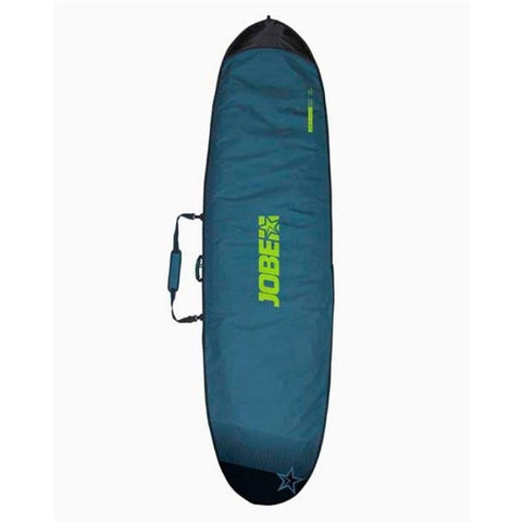 JOBE PADDLE BOARD BAG 10.6. Dark teal green with light green Jobe Sup Carry Bag lettering in the middle, and the ends of the bag are a dark green.  A carry handle is at the middle of the bag