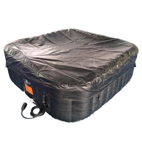 Aleko 160 Gallon 4 Person Square Inflatable Hot Tub Spa With Cover - Black and White