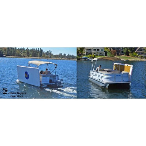 Island Hopper Patio Dock Floating Swim Platform is shown fully inflated and strapped to the side of a pontoon while it is driving down a lake.  There are 2 images, one from the left side showing the bottom of the inflatable dock facing out.  The second image is shown across the boat from the front angle.  The inflatable patio docks tan eva foam non-slip surface is facing in.