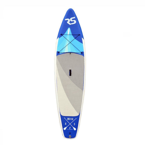 Rave Nomad 6 Inflatable Stand Up Paddle Board (SUP).  Royal and light blue highlights with grey standing pad in the middle. Overhead view on a white background.