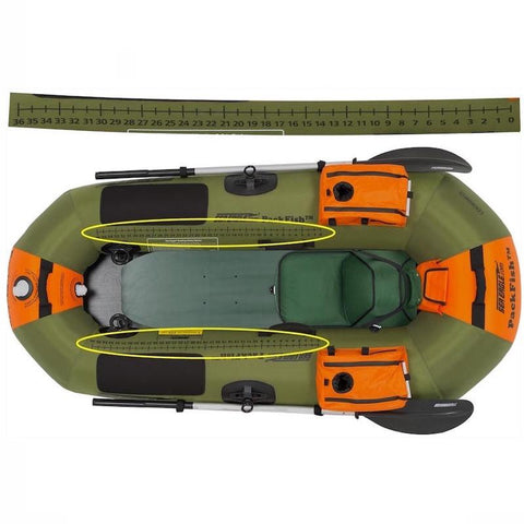 Top view of the green and orange Sea Eagle PackFish7 Inflatable Fishing Boat