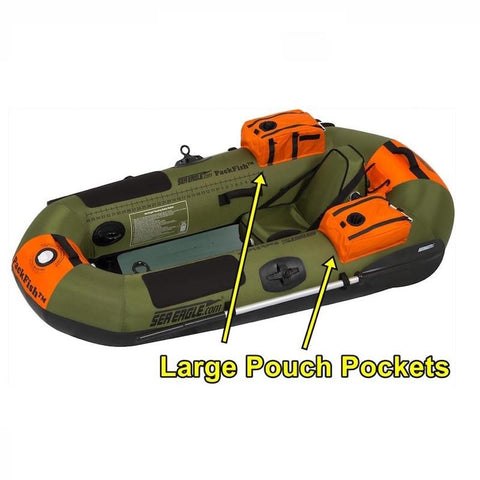 Sea Eagle PackFish7 Inflatable Fishing Boat top view with Pouch Pockets pointed out and highlighted.