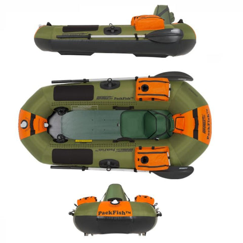 Sea Eagle PackFish7 Inflatable Fishing Boat side view, Top View, and Front View.
