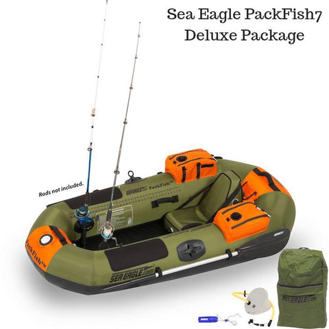 Sea Eagle PackFish7 Inflatable Fishing Boat Deluxe Package top view.