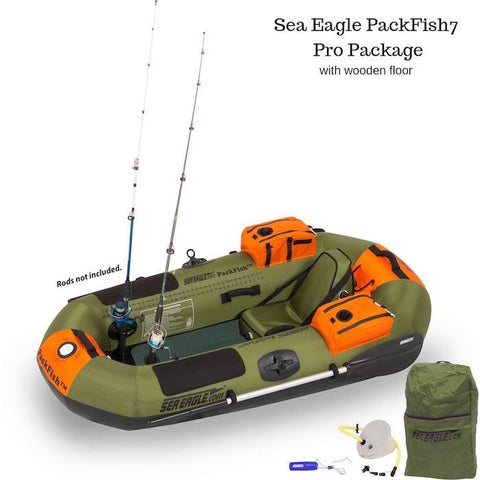 Sea Eagle PackFish7 Inflatable Fishing Boat Pro Package with wooden floorboard, top view.