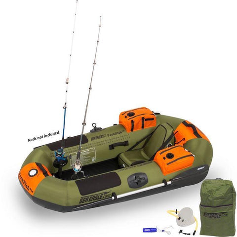 Sea Eagle PackFish7 Inflatable Fishing Boat top view display.  Hunter green with hunter orange highlights.