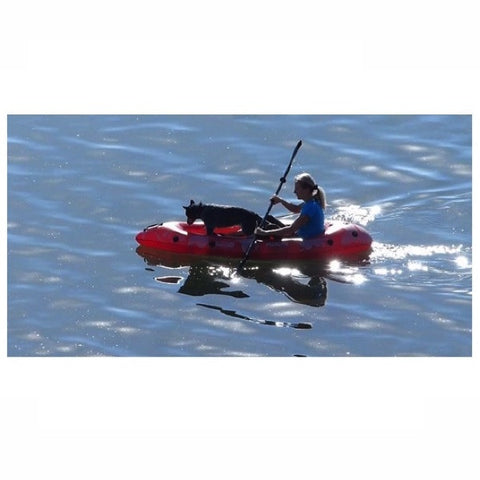Red Advanced Elements PackLite Solo Inflatable Kayak out on the water.