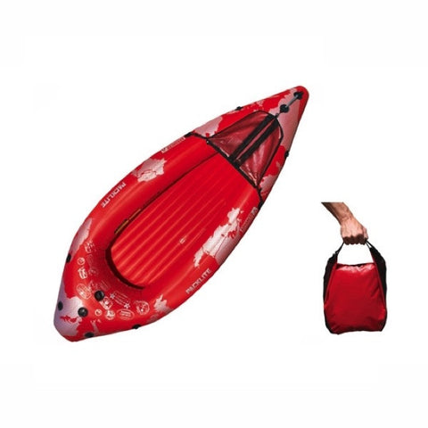 Top view of the red Advanced Elements PackLite 1 person Inflatable Kayak along with an image of the small red carry bag that the Packlite Inflatable Kayak fits in.