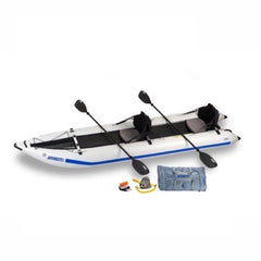 Sea Eagle PaddleSki 435ps Inflatable Kayak top display view with the bag and pump sitting next to the Sea Eagle inflatable catamaran.