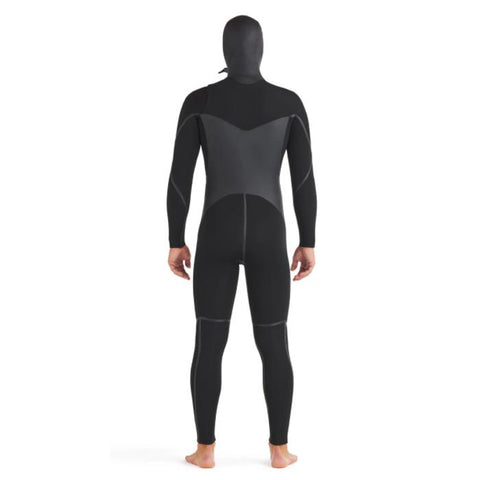 Body Glove Phoenix Mens 5/4/3 and 6/5/3 Chest Zip Hooded Wetsuits view of the back.  The wet suit is black, the hood is very dark gray.  The back area is medium gray as well as seems on the arms, behind the knees, and down the crack of the butt.