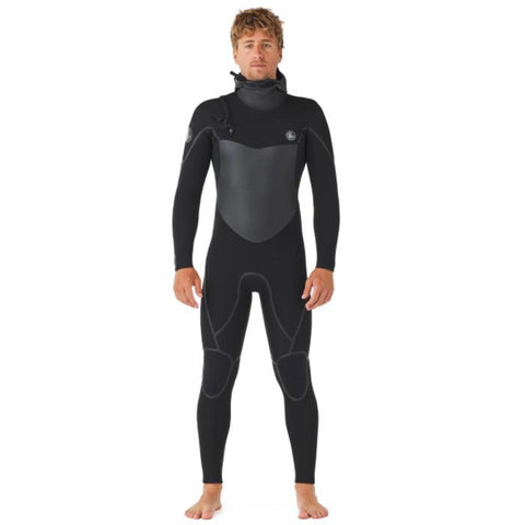 Body Glove Phoenix Mens 5/4/3 and 6/5/3 Chest Zip Hooded Wetsuits front view with hood off.  Chest and seams on the shoulder, thighs, and knees are grey.