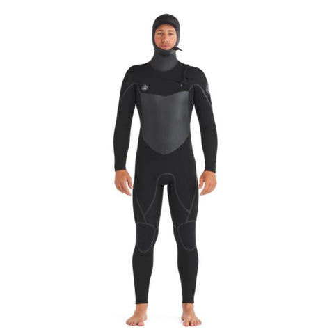 Body Glove Phoenix Mens 5/4/3 and 6/5/3 Chest Zip Hooded Wetsuits front view with hood on.  The wet suit is all black with chest and seam dark grey, as well as the hood and neck.