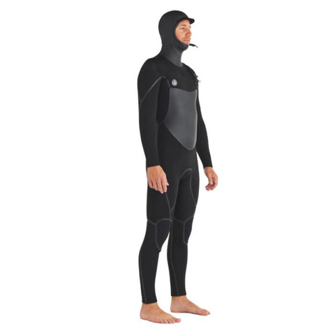 Body Glove Phoenix Mens Chest Zip Hooded Wet suit side view with hood on.
