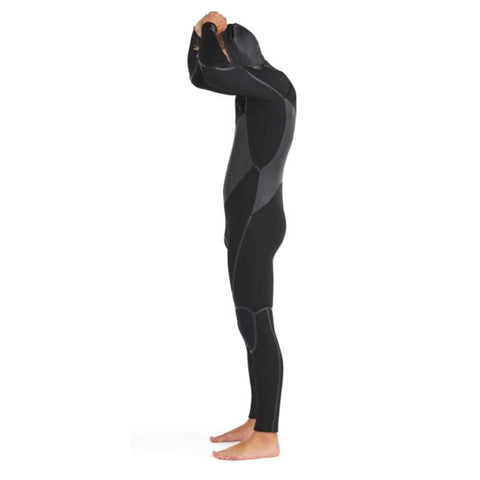 Body Glove Phoenix Mens Chest Zip Hooded Wetsuit side view as he takes the hood of the wetsuit off.