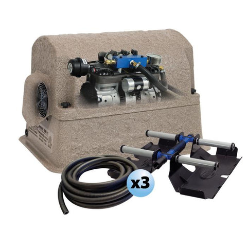 "Airmax PondSeries PS30 Aeration System.  Shown with the brown standard composite cover over the Rocking Piston Compressor.  A roll of 3/8"" airline and (3) 4 ProAir 4 Weighted Diffuser sit in front and are included."