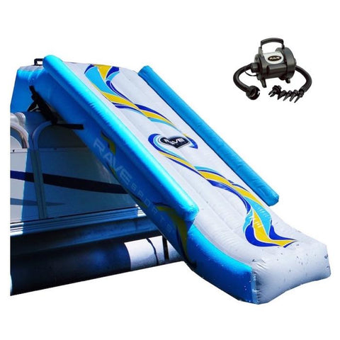 Rave Pontoon Boat Slide in place on the side of a pontoon, white background. The inflatable pontoon slide is white with yellow and light blue highlights.  The Rave 12v high pressure air pump is also shown.  It is black and gray with the Rave logo.