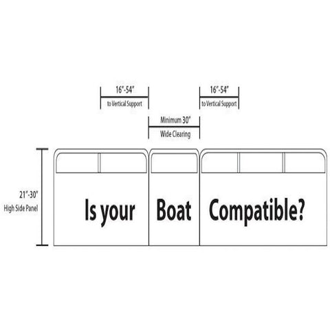 Rave Infltable Pontoon Slide diagram of compatible boats for the Rave Pontoon Slide