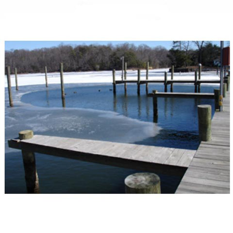 Power House Ice Eaters for sale dock bubbler system melting ice around some wooden docks.  There are several PowerHouse Ice Eaters for sale being used as a dock bubbler system for full dock ice protection.