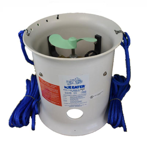 PowerHouse Ice Eater P1000 1 Hp 230V deicer with 50ft Cord.  Image shows the white cylinder with green propeller inside.  Blue mooring cords for easy setup are attached to each side of the Powerhouse De-Icer