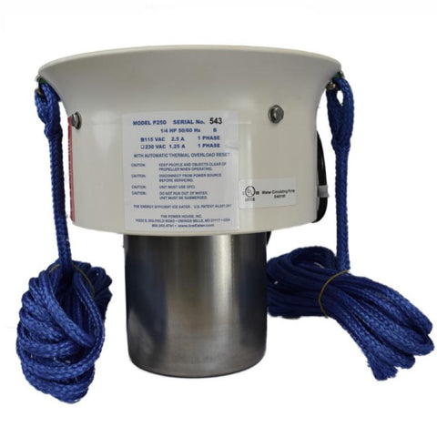 Side view of the Powerhouse 250 Ice Eater De-Icer.  In the middle is a metal cylinder that houses the motor.  There is a bigger, wider, but shorter open aired cylinder.  It looks like a white bucket that has had the bottom half cut off.  That is attached to the top of the motor housing.  There are blue mooring ropes attached and hanging from each side of the Powerhouse 250 Ice Eater.