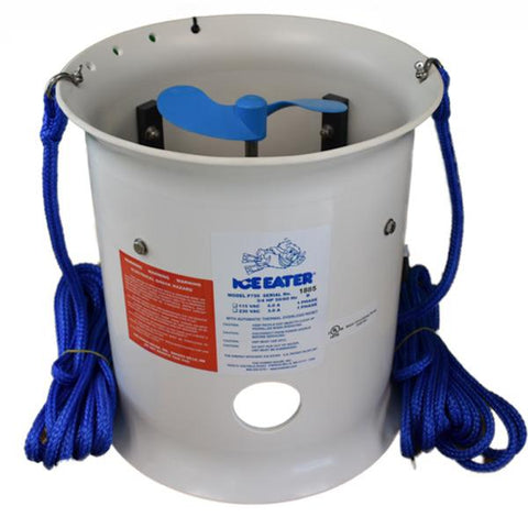 Powerhouse 3/4Hp 115V P750 Ice Eater with 100ft cord. All white cylinder, similar to an open ended metal bucket with a blue propeller inside to move the water.  There are 2 blue mooring ropes on each side of the Powerhouse de-icer.