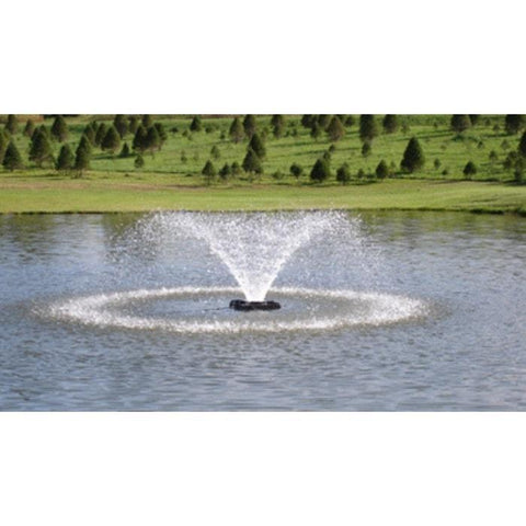 Power House F500F 1/2 Hp Aerating Fountain in the middle of a pond.