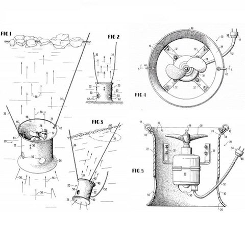 Power House Ice Eater Patent.  Picture of the penciled out sketching of the PowerHouse Ice Eater patent.  Top view, side view cut out to see the motor, and 2 other side views are all visible along with details of the design of the Powerhouse Ice Eater.