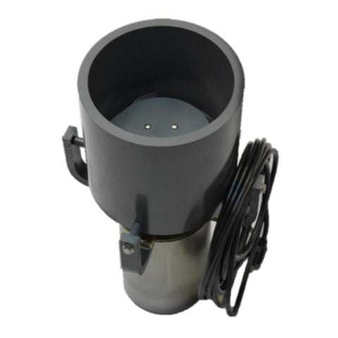 PowerHouse F Series Floating Pond Fountain Aerator Motor Assembly.  There is a gray cylinder sitting in place on the PowerHouse F Series Motor Assembly with brackets around the side.  The PowerHouse F500F and Power House F1000F is also sown with a power cord in place.