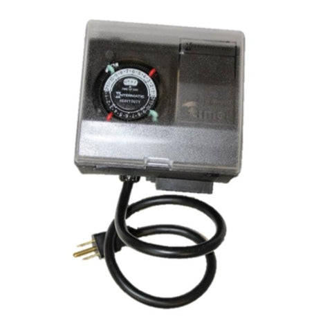 Power House Timer for Aerator or Ice Eater.  Grey aluminum box with black and white timer.  Black power cord is attached to the Ice Eater and Aerator Timer.