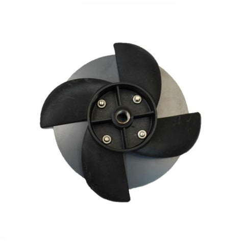 Replacement Propeller and Disc for PowerHouse F500F and F1000F Aerating Fountain top view with black propellers blades and gray back shell also visible.