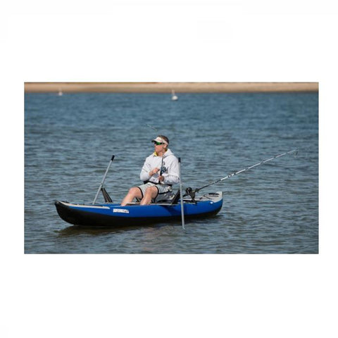 Fishing on the lake with the Sea Eagle Universal QuikRow™ Kit on a Sea Eagle Inflatable kayak.