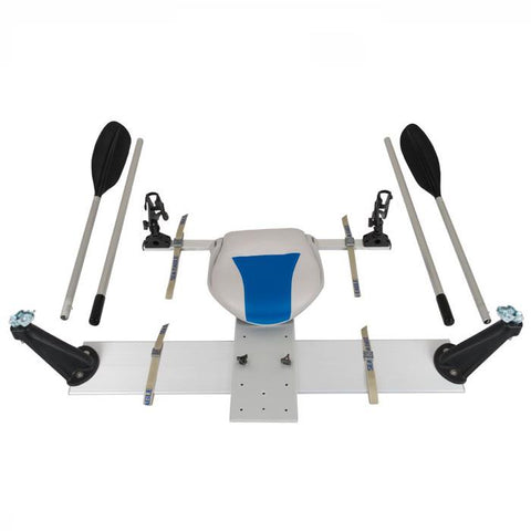 Sea Eagle Universal QuikRow™ Kit front display view.   Aluminum frame with white and blue seat.