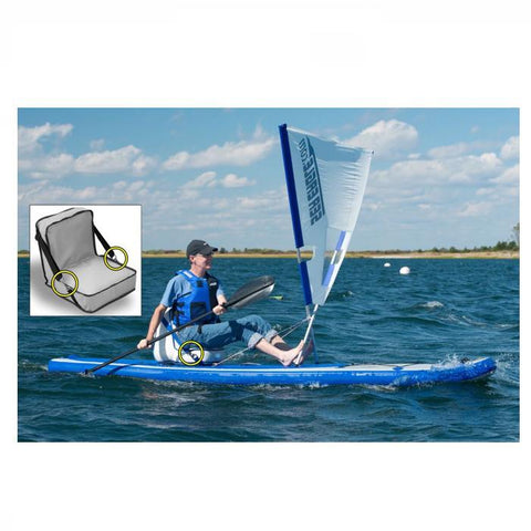 Man using the Sea Eagle QuikSail Kit on a SUP on a lake, side view.  Close up in a square of the d rings on the inflatable seat.