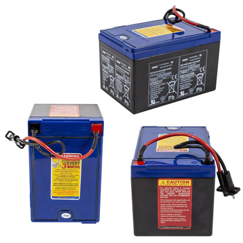 The battery for the Yamaha RDS 250 Under Water Scooter for sale is pictured from 3 angles showing the caution instructions, safety instructions, and operating instructions. The RDS250 Sea Scooter battery is blue on top with black sides.  The safety instructions are on a red background, the carution instructions on a yellow background and there is white wording throughout the side panels of the battery for the Yamaha RDS250 Under Water Scooter.