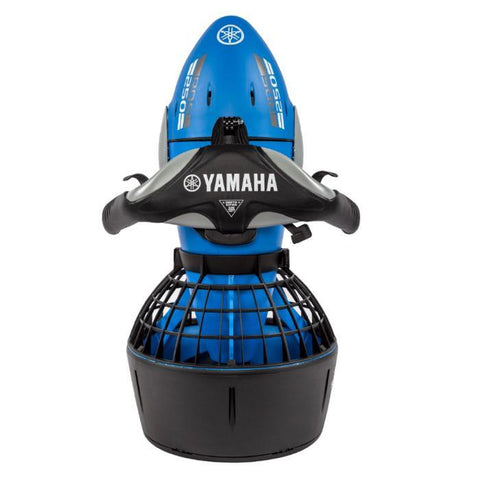 Top view of the Yamaha RDS250 Seascooter.  The Seascooter has a blue and grey body and the handles and fan cover are black.
