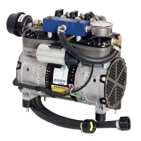 Airmax SilentAir RP50 1/2HP Piston Compressor with Triple Plate Manifold. Silver with black houses and grills and a blue manifold box.