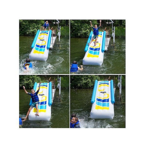 A 4 pic cross section of a boy sliding down the Rave Inflatable Dock Slide.