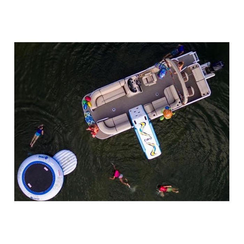 Overhead look at the Rave pontoon slide on a pontoon boat on the lake.