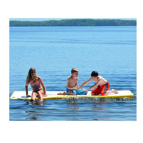 3 kids sitting on the Rave Water Whoosh 10 Inflatable Water Mat