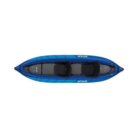 STAR Raven II Inflatable Kayak Top view of the blue model.  Shows the black seats and gray floor.